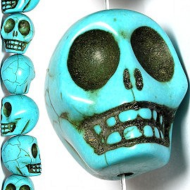 12pc 30x29x25mm Skull Earth Stone Spacer Turquoise JF1378