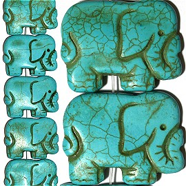 12pc 43x33x8mm Elephant Earth Stone Spacer Turquoise JF1383