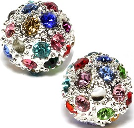 4pcs 11mm Rhinestone Bead Ball Silver Multi Colored JF1387