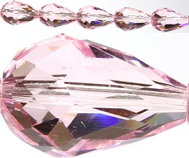 40pcs Crystal Tear Spacers 16x10mm Pink JF139