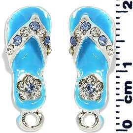 2pc Flip Flops Rhinestone Spacer Turquoise JF1398