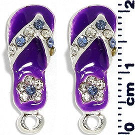 2pc Flip Flops Rhinestone Spacer Purple JF1399