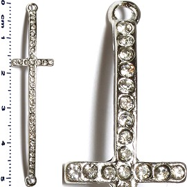 1pc 52mm Rhinestone Cross Spacer Jewelry Part Silver JF1407