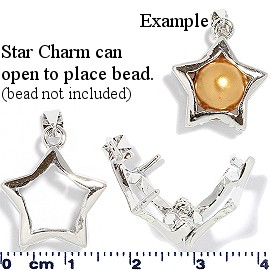 2pc Star Charm 10mm Bead Holder Silver JF1413