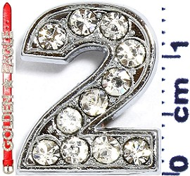 "Rhinestone Spacer 7/16"" Opening-Hole Number - 2 - Silver JF1418"