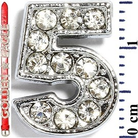 "Rhinestone Spacer 7/16"" Opening-Hole Number - 5 - Silver JF1421"