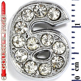 "Rhinestone Spacer 7/16"" Opening-Hole Number - 6 - Silver JF1422"