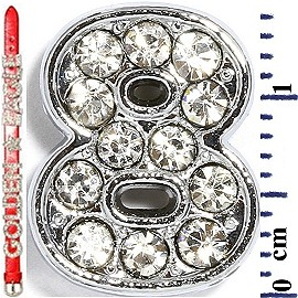 "Rhinestone Spacer 7/16"" Opening-Hole Number - 8 - Silver JF1424"