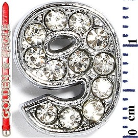 "Rhinestone Spacer 7/16"" Opening-Hole Number - 9 - Silver JF1425"