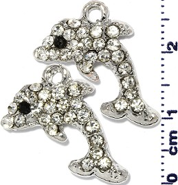2pc Rhinestone Spacer Dolphin Silver JF1471