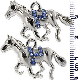 2pc Rhinestone Spacer Horse Silver Blue JF1473