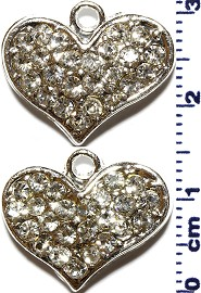 2pc Rhinestone Spacer Heart Silver JF1479