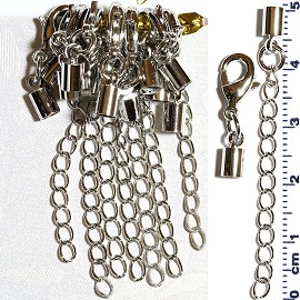 7 Pair End Clasp 3mm Converter, Chain Extension Silver JF1484