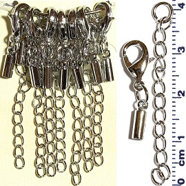 7 Pair End Clasp 2mm Converter, Chain Extension Silver JF1486