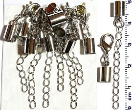 6 Pair End Clasp 5mm Converter, Chain Extension Silver JF1487
