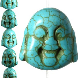 16 24x23x13mm Earth Stone Spacer Buddha Head Turquoise JF1595