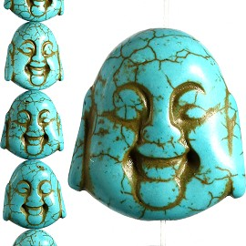 14pc 30x27x15mm Earth Stone Spacer Buddha Head Turquoise JF1596