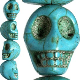 17pc 23x21x18mm Earth Stone Spacer Skull Head Turquoise JF1602