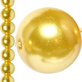 100pc 8mm Faux Pearl Bead Spacer Gold JF1630