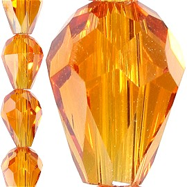 70pc 8x6mm Tear Drop Crystal Bead Spacer Light Orange JF1634