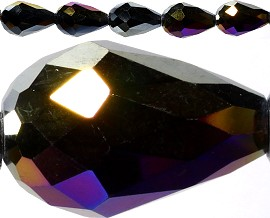 40pcs Crystal Teardrop Spacers 16x10mm Dark Purple AB JF165