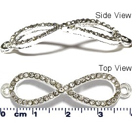 1pc Infinity Rhinestone Spacer Jewelry Part Silver JF1665