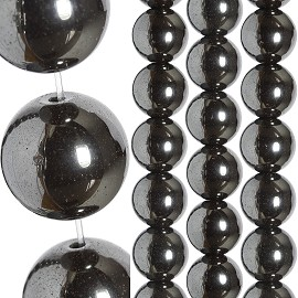40pc 12mm Non-Magnetic Hematite Bead Spacer Black JF1670