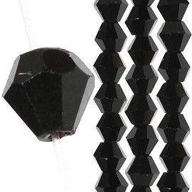 145pc 3mm Bicone Crystal Bead Spacers Black JF1692