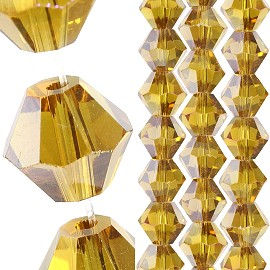 40pc 8mm Bicone Crystal Bead Spacers Dark Yellow JF1697