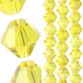 40pc 8mm Bicone Crystal Bead Spacers Yellow JF1698