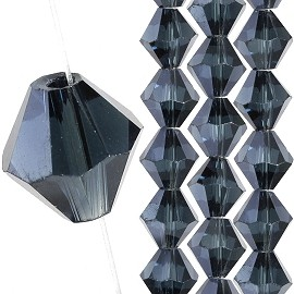 40pc 8mm Bicone Crystal Bead Spacers Dark Gray JF1714