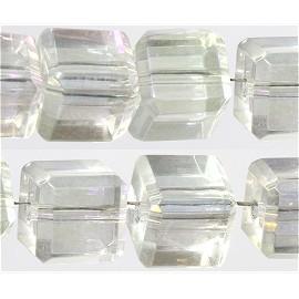 44pcs 8mm Cube Square Crystal Bead Spacer Clear Aurora AB JF1720