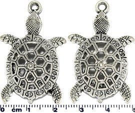 2pc Metallic Pendant Turtle Spacer JF1721