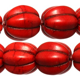 40pc 10mm Earth Stone Pumpkin Beads Spacers Red JF1727