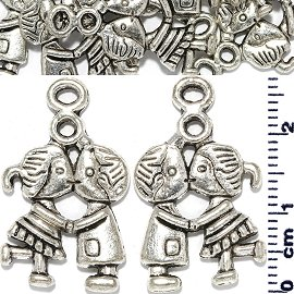 10pc Spacer Jewelry Part Boy Girl Kiss Silver JF1734