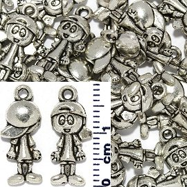 30pc Spacer Jewelry Part Boy Cap Silver JF1737