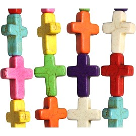 20pc 20x15x6mm Earth Stone Cross Spacer Mix Color JF1747