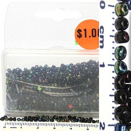 Box of Seed Beads Black Aura Mix JF1772