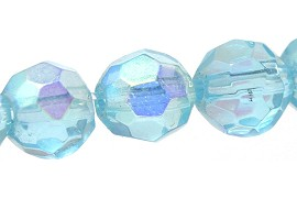 40pcs Crystal Round Multifaceted 8mm Spacer Sky Blue AB JF1795