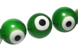 40pcs Spacer Eye Ball 10mm Green JF1842