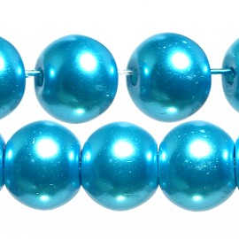 100pc 8mm Faux Pearl Smooth Bead Shiny Aqua Turquoise JF1846