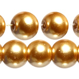 100pc 8mm Faux Pearl Smooth Bead Spacer Copper Gold Tone JF1847