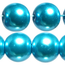 80pc 10mm Faux Pearl Smooth Bead Shiny Aqua Turquoise JF1848