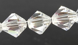 8mm Bicone Crystal Clear AB 40pcs JF1927