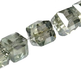100pcs 4mm Cube Crystal Bead Spacer Gray JF1944