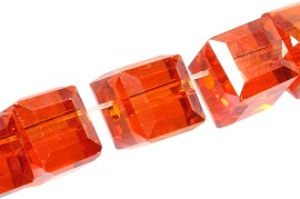 100pcs 5mm Cube Crystal Bead Spacer Orange AB JF1956