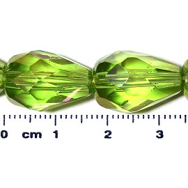 20pc 17x12mm Teardrop Crystal Spacer Bead Lime Green JF2051