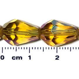 26pc 13x10mm Teardrop Crystal Spacer Bead Gold JF2055