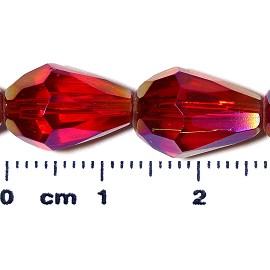 26pc 13x10mm Teardrop Crystal Spacer Bead Red JF2058