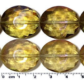 13pc 24x20x11mm Oval Crystal Bead Amber AB JF2072